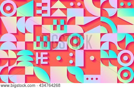 Geometric Retro Seamless Pattern With 30s Styled Shapes And Vibrant Psychedelic Colors