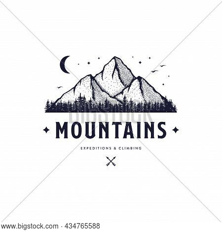 Mountains Expeditions And Climbing White Vector Illustration