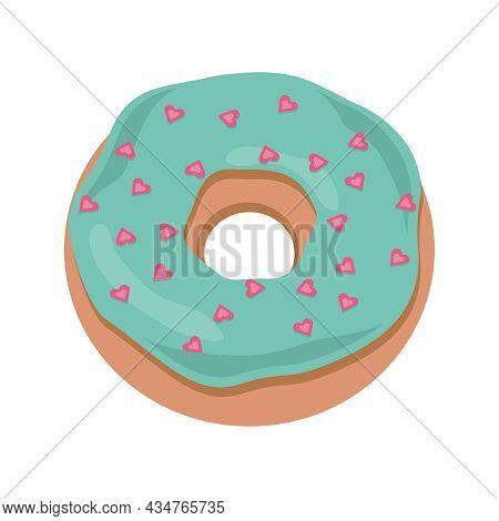 Cartoon Donut Isolated On White Background. Vector Donut Into The Glaze . Sweet Doughnut Food.