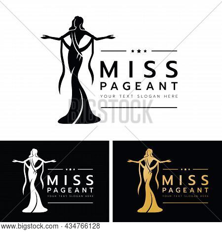 Miss Pageant Logo - The Beauty Queen Pageant Are Spread Out Your Arms In Long Evening Gown Vector De