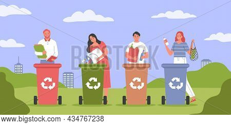 Garbage Separation Recycling Composition With Outdoor Park Scenery With Cityscape And People With Co