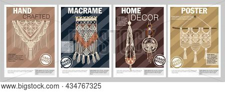 Home Decor Poster Set With Handcrafted Items Made In Macrame Style Isolated Vector Illustration