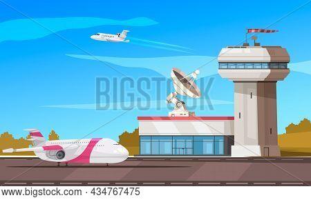 Airport Air Traffic Control Tower Radar Facility Cartoon Composition With Passenger Aircrafts Landin