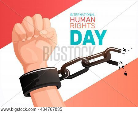 International Human Rights Day Freedom Concept With Clenched Fist Breaking Metal Chain Flat Vector I
