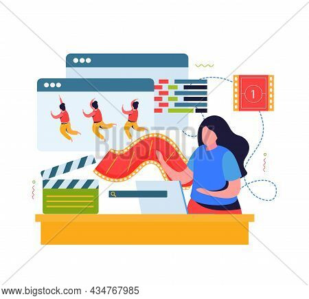 Animation And Motion Design Flat Composition With Female Animator Working On Character Movement Vect