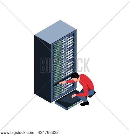 System Administator Working With Computer Hardware Isometric Vector Illustration