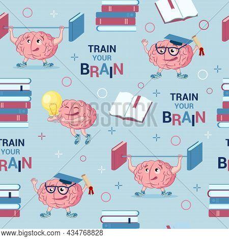 Brain Training. Mental Abilities. Cute Cartoon Character Brain, Book, Inscription - Train Your Brain