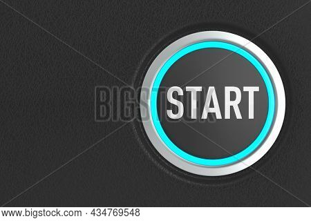 push button with text start on dark background. 3D illustration