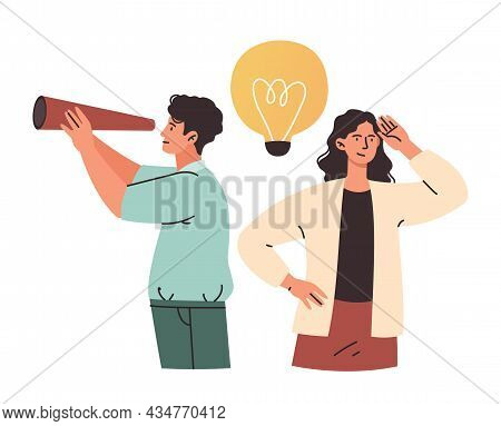 Optimistic Male And Female Characters Are Looking For New Ideas Together On White Background. Variou