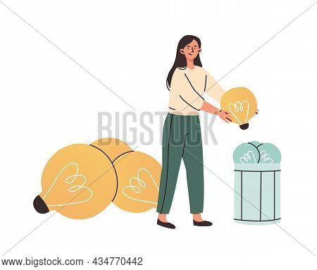 Unhappy Female Character Is Trying To Put Lightbulbs To Work For New Ideas On White Background. Peop