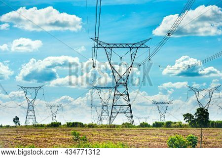 Electric Power Lines Coming Out From A Substation At Foz Do Iguazu, Parana State, Brazil