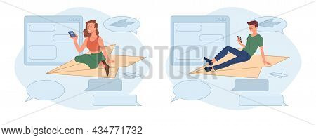 Young Male And Female Characters Are Sitting On Paper Plane And Sending Messages In Mobile Applicati