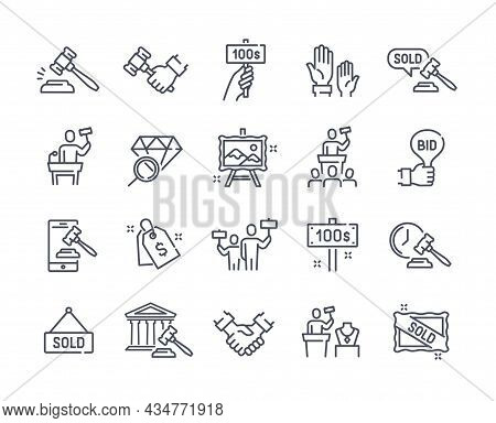 Set Of Auction Related Linear Icons Isolated On White Background. Outline Templates Of Price Tag, De