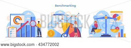Colorful Set With Scenes Of Benchmarking Process On White Background. Concept Of Business Developmen