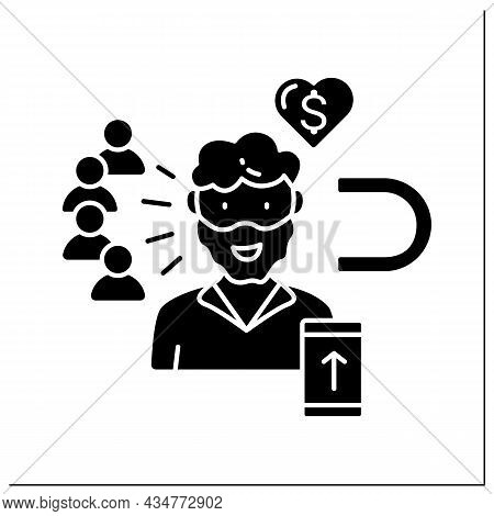 Influencer Glyph Icon. High Influence On Audience. Blogger Attract New Subscribers. Keep Money From