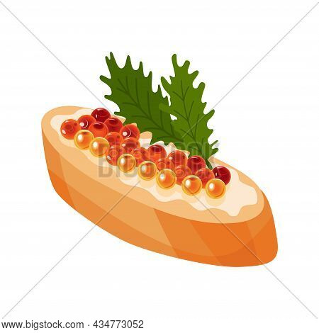 Delicious Caviar On Bread. Seafood Product Of Red Fish And Sturgeon Or Fish From The Salmon Family.
