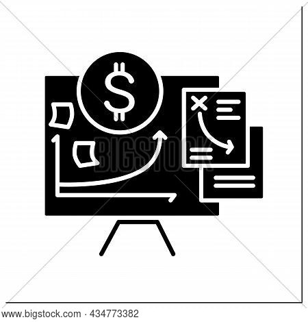 Financial Plan Glyph Icon. Project Cost Planning Presentation. Budget, Finance Analytics, Economical