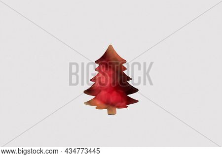 Defocus Abstract Christmas Tree Background Watercolor. Art Christmas Tree Paper Cutting Design Vinta