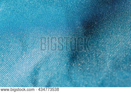 Blue Green Fabric Texture. Macro. Abstract Pattern Of Textile. Close Up. Dramatic Lighting Of Blue D