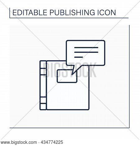 Blurb Line Icon. Short Publicity Notice. Book Description. Publishing Concept. Isolated Vector Illus