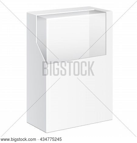 Mockup Product Cardboard Plastic Package Box With Window. Illustration Isolated On White Background.