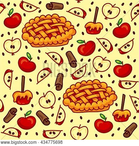 Hand-drawn Autumn Harvest Vector Seamless Pattern With Red Apples, Apple Slices And Seeds, Caramel A