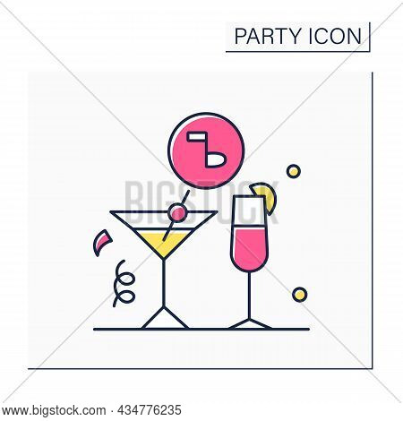 Drinks Party Color Icon. Formal Party With Alcoholic Drinks. Celebrations With Music And Snacks.cele