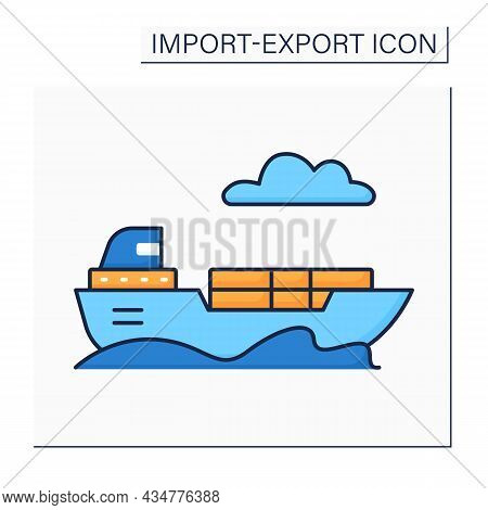 Freight Color Icon. Goods, Cargo, Or Lading Transported For Pay. Shipped By Ship. Import And Export