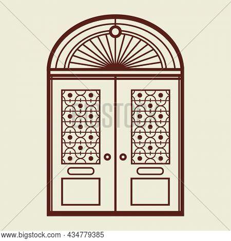 Retro doors logo business corporate identity illustration