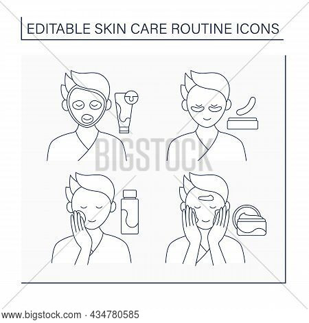 Skin Care Routine Line Icons Set. Mask, Eye Patches, Tonic And Moisturized Cream. Cosmetology Concep