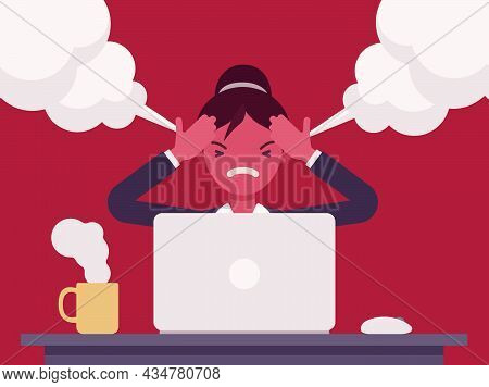 Businesswoman Working With Laptop Steam Coming Out Of Ears, Angry. Red Faced Office Worker Losing Te
