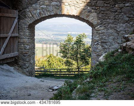 Gate Of Lietava Medieval Castle Nearby Zilina Town In Sulov Mountains, Slovakia, Europe