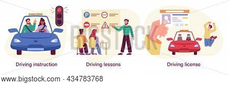 Set Of Driving School Process With Instructor And Students. Driving Lessons And Instruction, Driving
