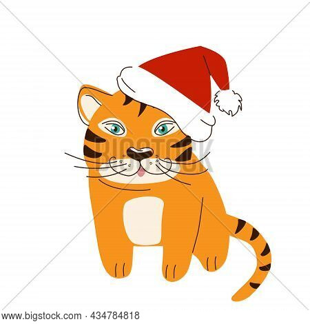 Bengal Tiger In A Red Santa Hat For The New Year, Isolated On A White Background. A Symbol Of The Ye