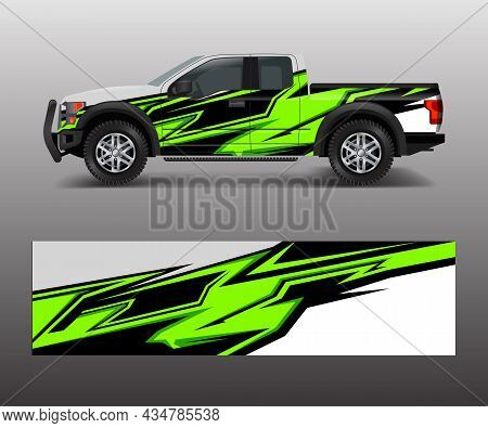 Racing Graphic Background Vector For Truck, Pickup And Vehicle Branding. Vinyl And Wrap Design Vecto