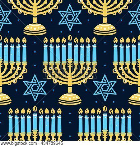 Happy Hanukkah Pattern With Menorah, Traditional Candelabra And Candles Seamless. Jewish Israeli Sym