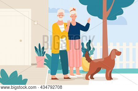 Elderly Couple Hugging Standing Together On Porch Of Countryside House. Aged Man And Woman With Dog