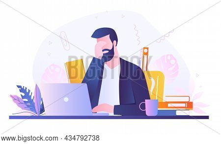 Caucasian Bearded Man Working On Laptop In Office. Eye Strain And Vision Fatigue From Reading And La