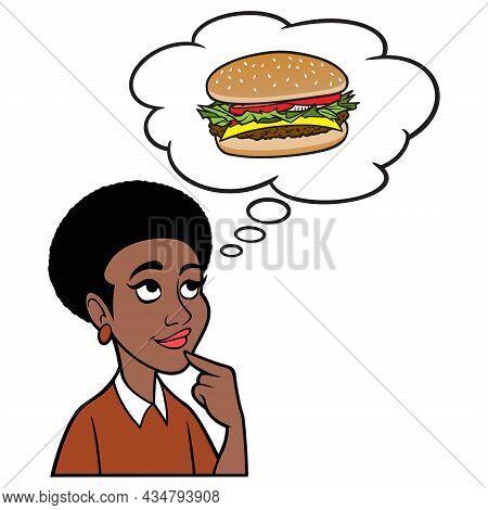 Woman Thinking About A Hamburger - A Cartoon Illustration Of A Woman Thinking About A Hamburger For