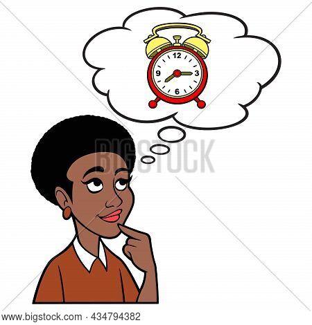 Woman Thinking About An Alarm Clock - A Cartoon Illustration Of A Woman Thinking About Setting An Al