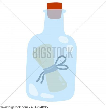 Message In Bottle. Letter And Pirate Note. Blue Glass. Cartoon Illustration Isolated On White