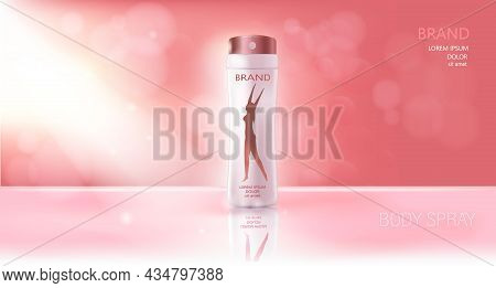 Realistic Female Deodorant. Spray. White Bottle. 3d. Pink Abstract Background With Bubbles. Female S
