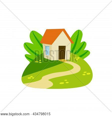 Village House. Home On Green Hill And Road. Country Landscape. Summer Season. Flat Cartoon Illustrat