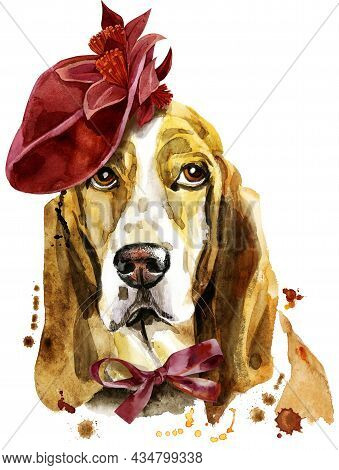 Watercolor Portrait Of Basset Hound In Red Hat