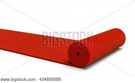 red carpet unrolling on white background. 3d render