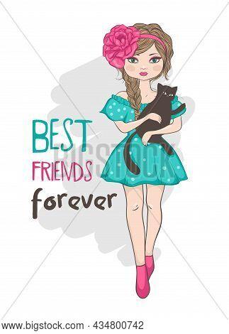 Best Friends Forever, Girl With Cat, Children Illustration.