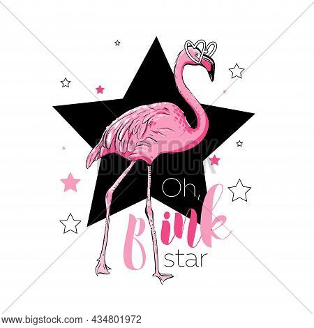 Pink Flamingo With Black Star, Isolated On White.