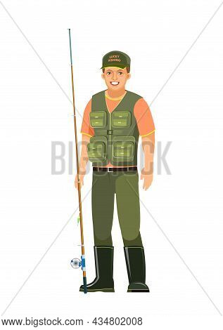 Fisherman. Ordinary And Typical. Isolated On White Background. Middle Aged Man Character Person. Vec