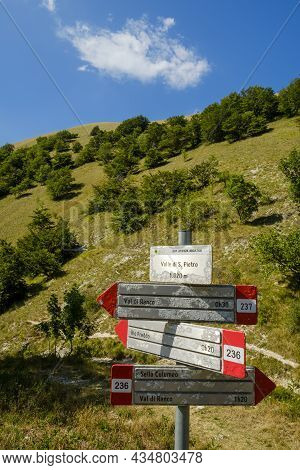 Trail Signs For Hikers On Monte Cucco Regional Park, Umbria, Italy