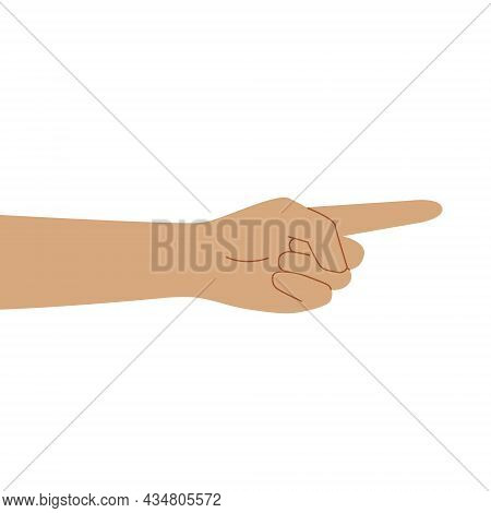 Shows His Index Finger. Flat Illustration Of White Human Hands. Isolated Over White Background. Vect
